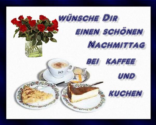 Wünsche Dir einen schönen Nachmittag bei Kaffee und Kuchen.