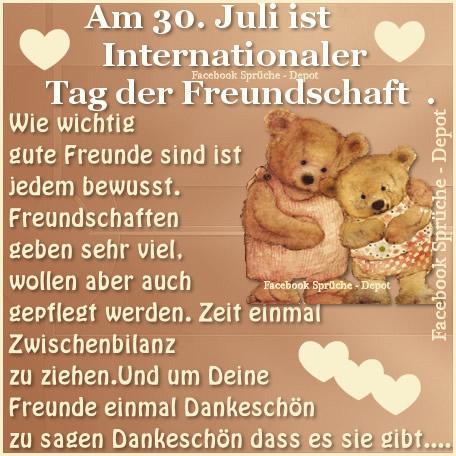 Am 30. Juli ist Internationaler Tag der Freundschaft Wie wichtig gute Freunde sind ist jedem bewusst. Freundschaften geben...